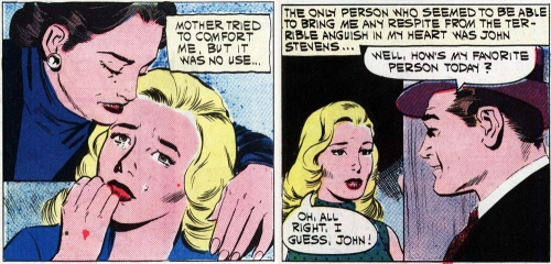 "Inked by Dick Giordano in the story ""My Foolish Heart"" in FIRST KISS #21, 1961. Click image to enlarge."
