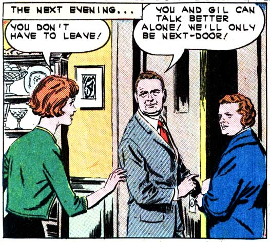 """Original art by Luis Dominguez from the story """"Reckless Romance"""" in FIRST KISS #30, 1963."""