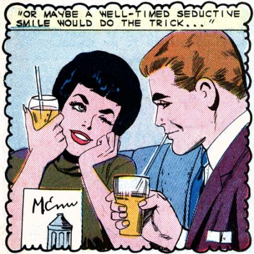 "Art by the Vince Colletta Studio from the story ""Perplexed"" in First Kiss #38, 1964."