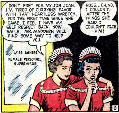 """Art by Nina Albright from the story """"My Hotel Romance"""" in CINDERELLA LOVE #1, 1950."""