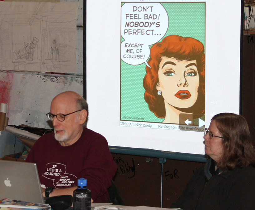 Last Kiss creator John Lustig---with lots of assistance from wife/muse Shelagh Lustig---gave a wide-ranging presentation about romance comics at the Nov. 21 Cartoonist Northwest meeting in Seattle.