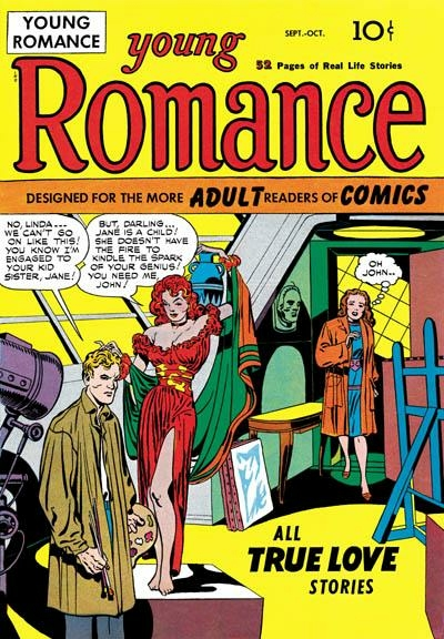 The first romance comics---Joe Simon and Jack Kirby's Young Romance #1, 1947.