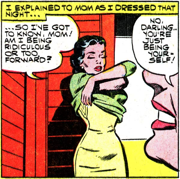 """Art by Dick Giordano from the story """"The Serious Type"""" in FIRST KISS #13, 1960."""
