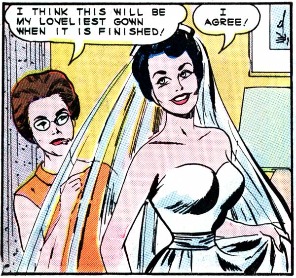 "Art by Vince Colletta from the story ""Involuntary Bride"" in FIRST KISS #40, 1965."