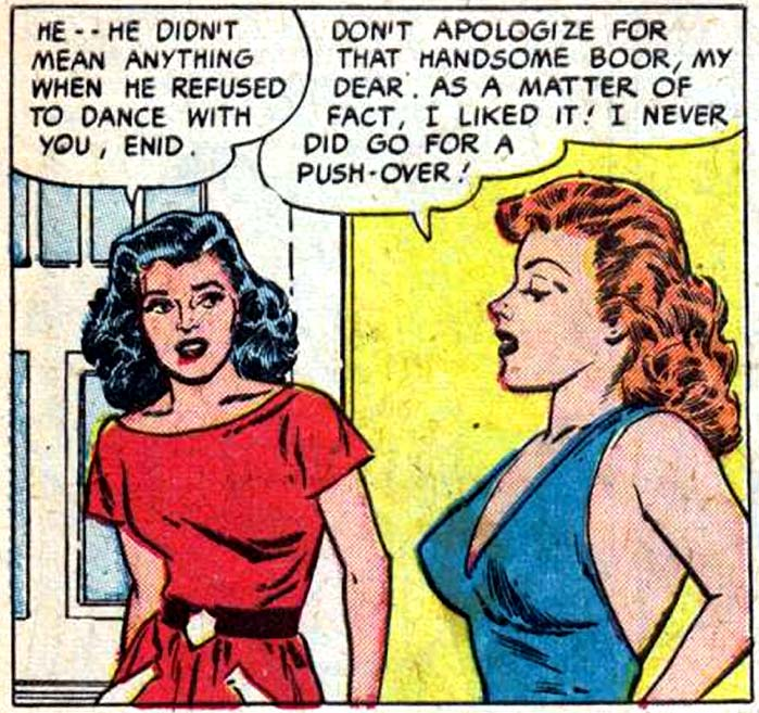 """Art by Reed Crandall  from the story """"Bitter Love"""" in CINDERELLA LOVE #2, 1951."""