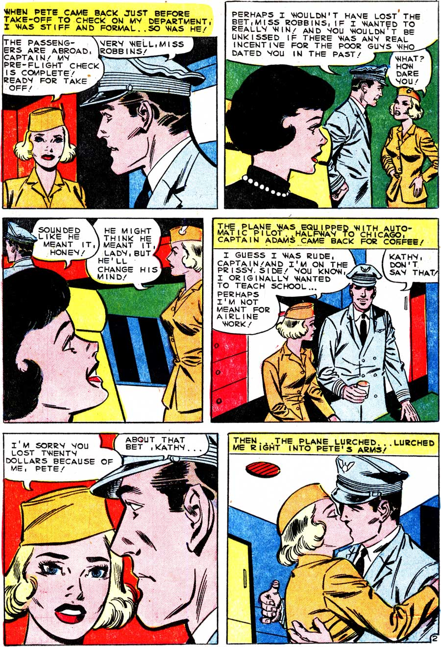 "Art by Charles Nicholas & Sal Trapani from the story ""Love Among the Stars"" in FIRST KISS #15, 1960. Click image to enlarge."