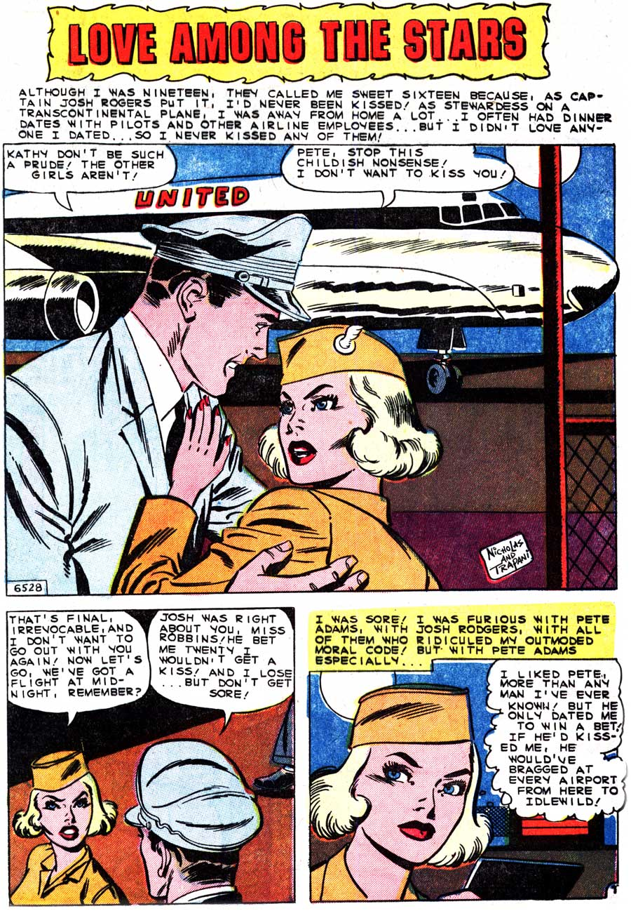 "Click image to enlarge. Art by Charles Nicholas & Sal Trapani from the story ""Love Among the Stars"" in FIRST KISS #15, 1960."