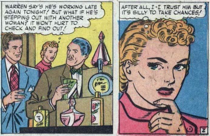 """Art by Nina Albright from the story """"Suspicious Heart"""" in NEW ROMANCES #10, 1952."""