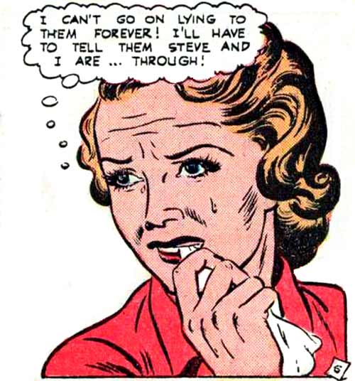 """Art by Vernon Greene from the story """"I Ran from Love"""" in NEW ROMANCES #11, 1952."""