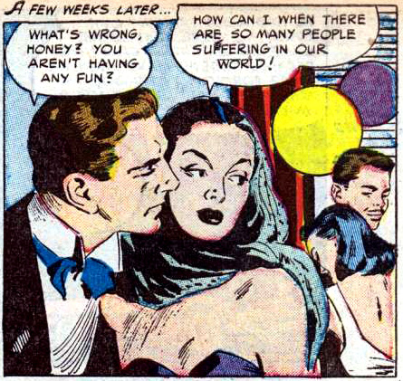 """Art by Alice Kirkpatrick from the story """"Claimed by the Past"""" in CINDERELLA LOVE #11 (Ziff-Davis), 1952."""