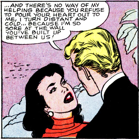 "Art by Vince Colletta Studio from the story ""He Loves Me Not"" in FIRST KISS #3, 1958."