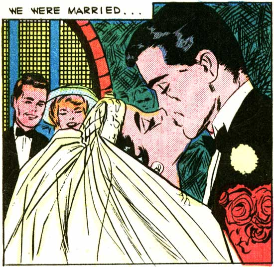 "Artist unknown (but I suspect it's Vince Colletta.) From the story ""You Can Never Tell"" in FIRST KISS #10, 1959."