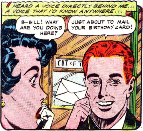 "Artist unknown. From the story ""You Can't Believe"" in Bride's Secrets #9, 1955."