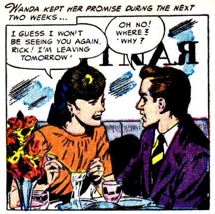 """Art by Alice Kirkpatrick from the story """"Claimed by the Past"""" in CINDERELLA LOVE #11, 1952."""