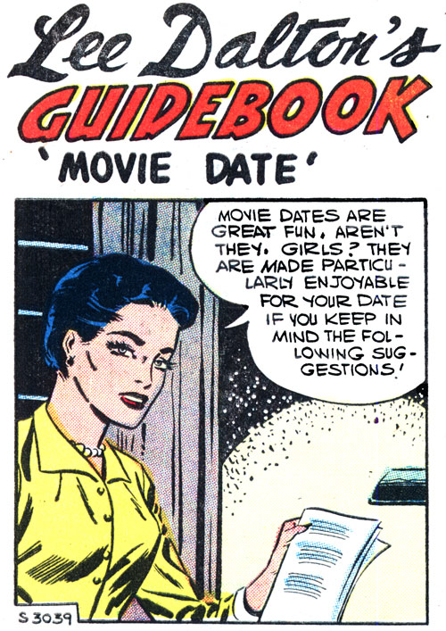 "Foreground art by Charles Nicholas & Vince Alascia from the story ""Lee Dalton's Guidebook: Movie Date'"" in FIRST KISS #2, 1958."