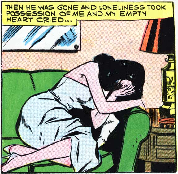 "Art by Vince Colletta Studio from the story ""Love Comes Later"" in FIRST KISS #15, 1960."