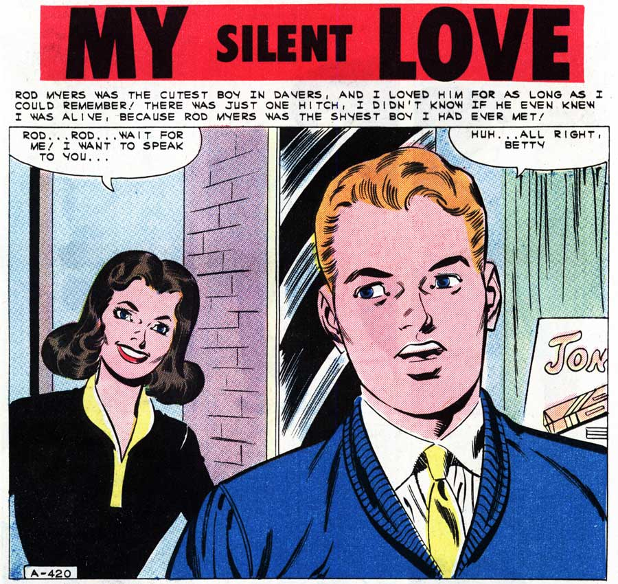 "Chasal  (Charles Nicholas & Sal Trapani) from the story ""My Silent Love"" in FIRST KISS #21, 1961."