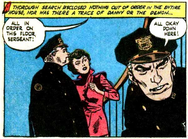 "Art by Alex Toth & Mike Peppe from the story ""Murder Mansion"" in ADVENTURES IN DARKNESS #5. 1952."