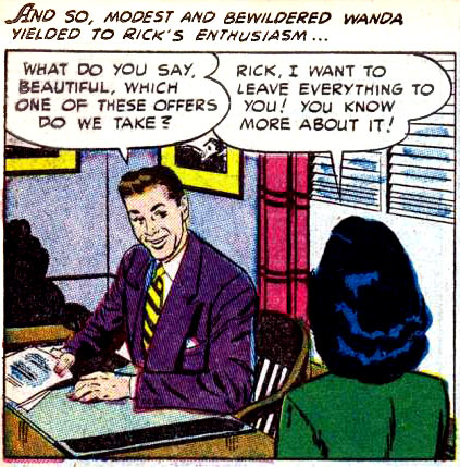 """Art by Alice Kirkpatrick from the story """"Claimed by the Past"""" from CINDERELLA LOVE #11, 1952."""