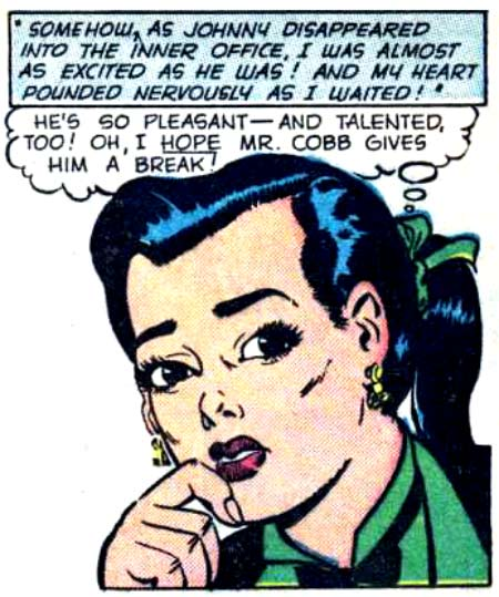 """Art by Jack Sparling from the story """"Good-bye, My Love"""" in CINDERELLA LOVE #8, 1952."""