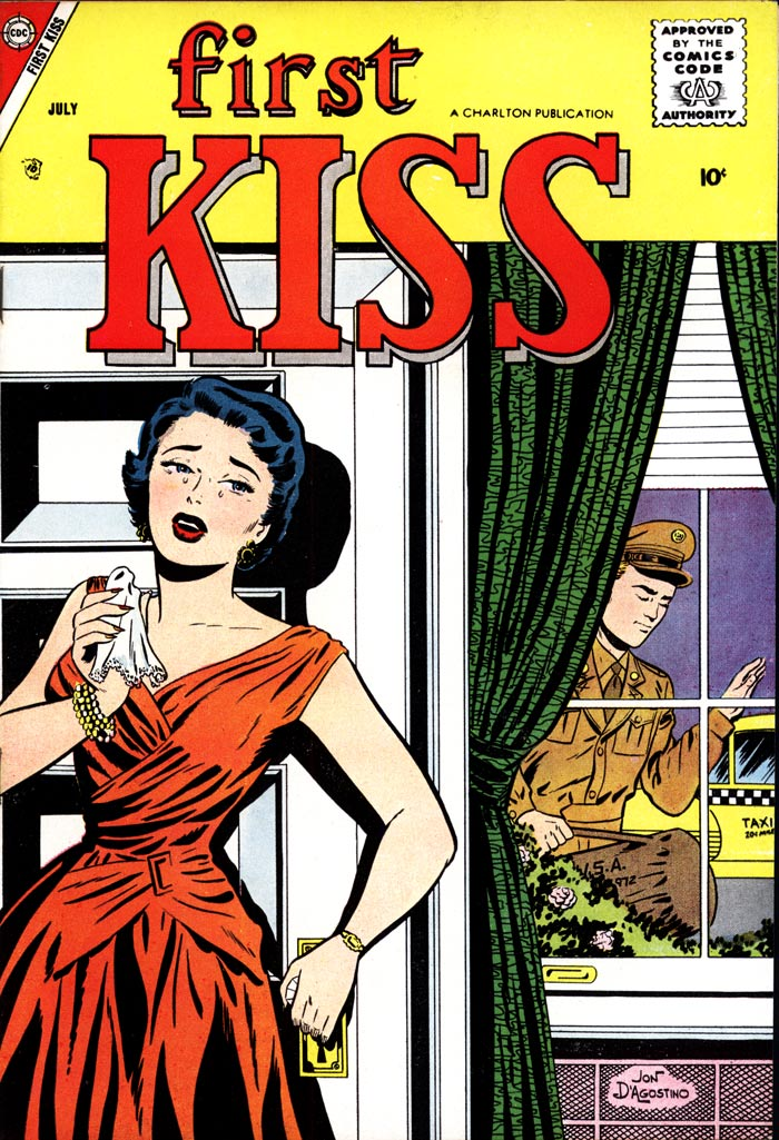 Art by Jon D'Agostino from the cover of FIRST KISS #4, 1958.