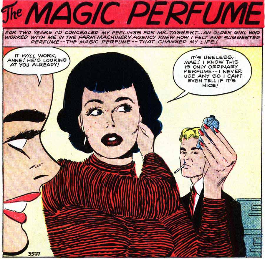"""Art by Vince Colletta Studio from the story """"The Magic Perfume"""" in FIRST KISS #5, 1958."""