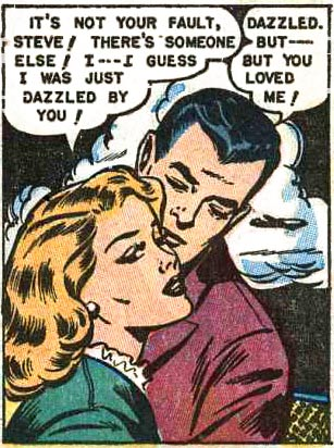 "Art possibly by Al Hartley. From the story ""Wallflower Sweetheart"" in TEN STORY LOVE #188, 1953."
