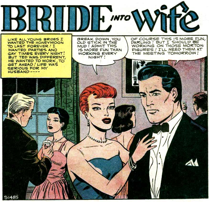 Artist unknown. From BRIDES IN LOVE #3, 1957.