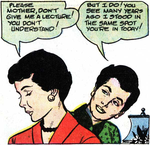 """Art by John Tartaglione from the story """"Elopement"""" in FIRST KISS #4, 1958."""