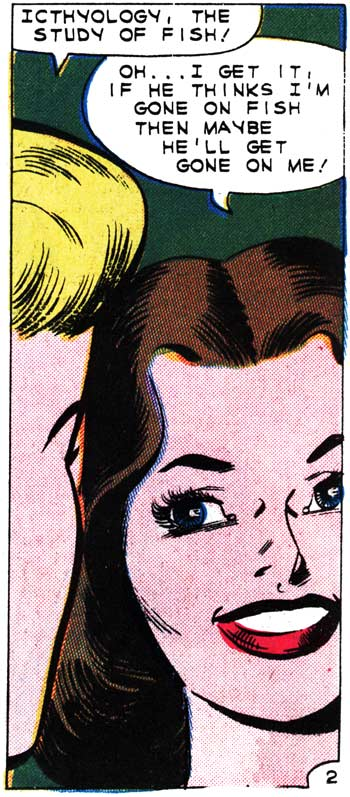 "Art by Charles Nicholas & Sal Trapani in the story ""My Silent Love"" in FIRST KISS #21, 1961."