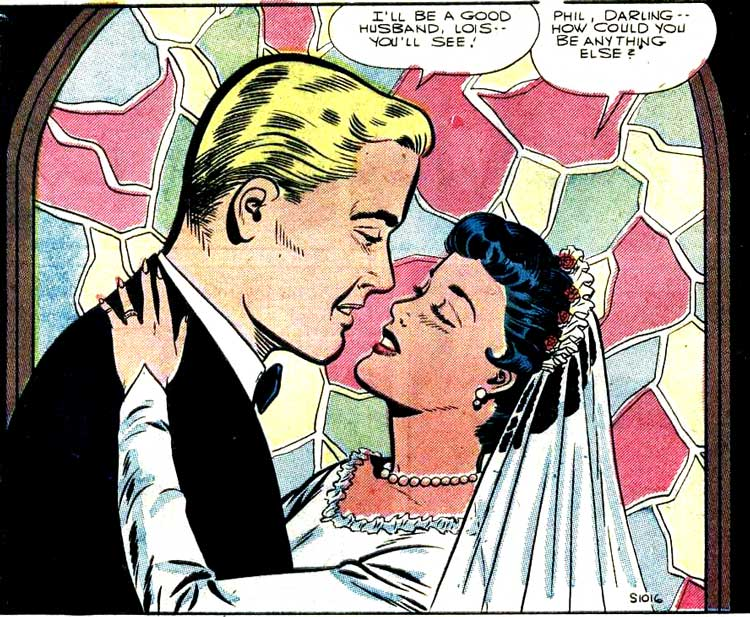 """Pencils by Charles Nicholas. ( Inks possibly by Jon D'Agostino.) From the story """"The End of the Honeymoon"""" in BRIDES IN LOVE #1, 1956."""