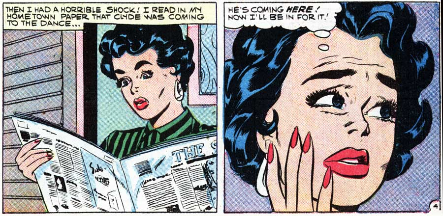 """Art by Vince Colletta Studio from the story """"Make Believe"""" in FIRST KISS #7, 1959."""