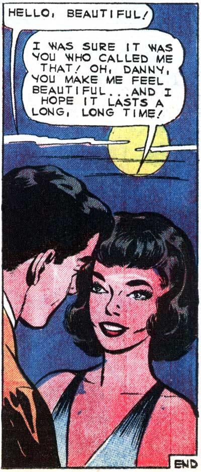"Inks by Dick Giordano from the story ""Hello, Beautiful"" in FIRST KISS #12, 1950."