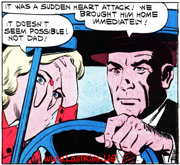 """Inking by Dick Giordano from the story """"My Foolish Heart"""" in FIRST KISS #21, 1961."""