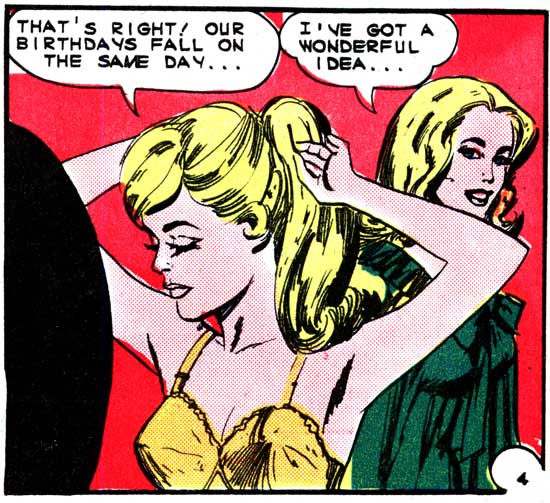 "Art by Vince Colletta Studio in the story ""Surprise Party"" in FIRST KISS #40, 1965."