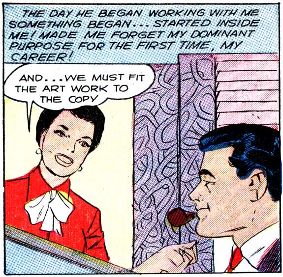 "Art by Vince Colletta Studio from the story ""Made for Romance"" in FIRST KISS #4, 1958."