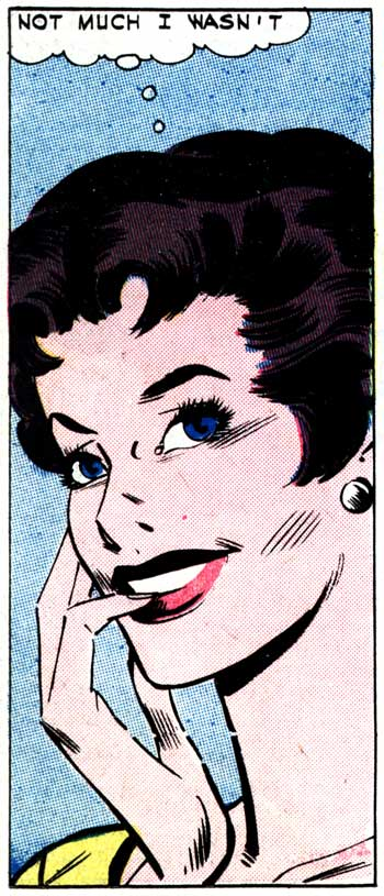 "Art by Charles Nicholas & Sal Trapani from the story ""How He Came to Kiss Me"" in FIRST KISS #21, 1961."