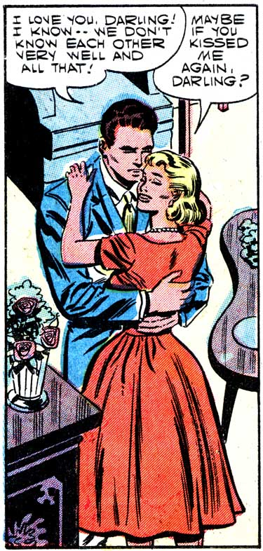 "Art by Charles Nicholas & Sal Trapani from the story ""Good Ole Joe"" in FIRST KISS #1, 1957."