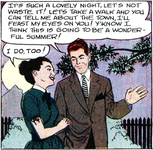 "Art by John Tartaglione from the story ""Elopement' in FIRST KISS #4, 1958."
