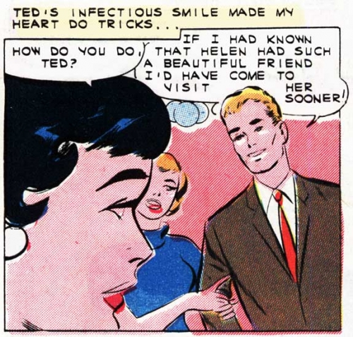 """Art by Vince Colletta Studio from the story """"A Moment to Remember"""" in FIRST KISS #21, 1961."""