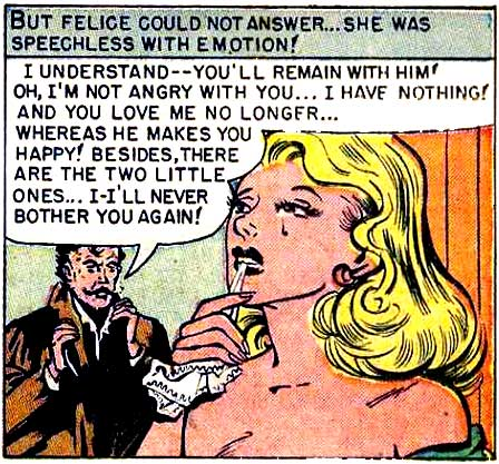 "Artist unknown. From the story ""The Loves For Felicie"" in A NIGHT OF LOVE #1, 1952."