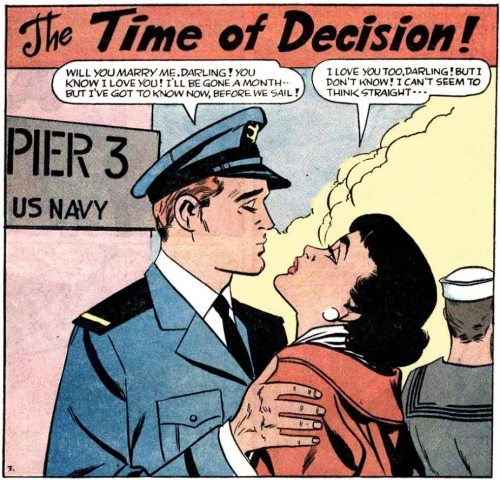 "Artist unknown. (But possibly Vince Colletta had a hand in the art.) From the story ""The Time of Decision"" from BRIDES IN LOVE #9, 1958."