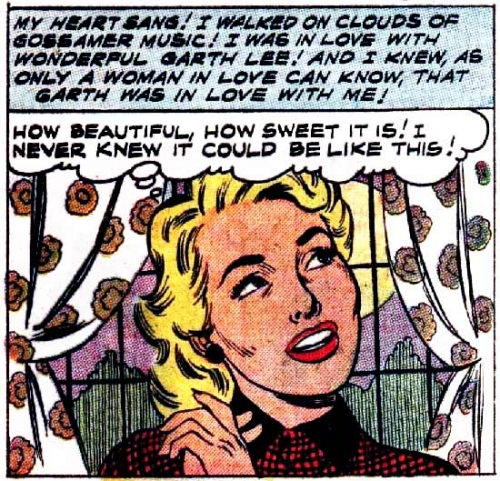 "Art by John Tartaglione from the story ""Too Many Sweethearts"" in SWEETHEARTS #44, 1958."