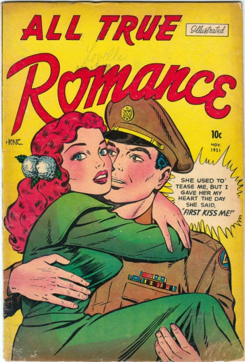 Artist unknown. From the cover of Comic Media's ALL TRUE ROMANCE #2, 1951. Click image to enlarge.