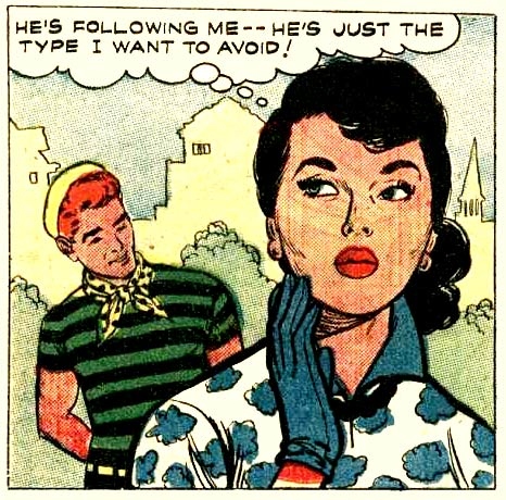 "Art by John Tartaglione from the story ""Paris Interlude"" in BRIDES IN LOVE #8, 1958."