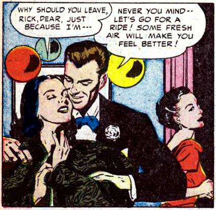 "Art by Alice Kirkpatrick from the story ""Claimed by the Past"" in CINDERELLA LOVE #11, 1952."