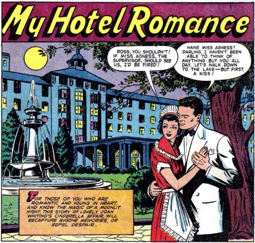 "Art by Nina Albright from the story ""My Hotel Romance"" in CINDERELLA LOVE #1, 1950."
