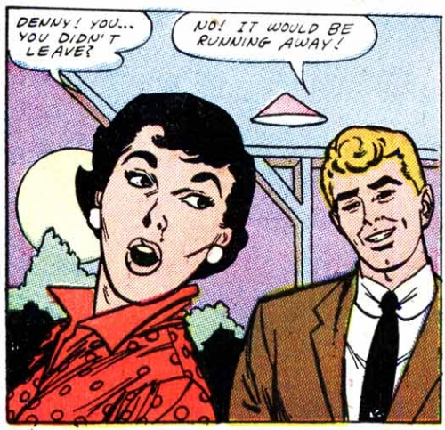"Art by John Tartaglione from the story ""To Stella with Love"" in FIRST KISS #3, 1958."