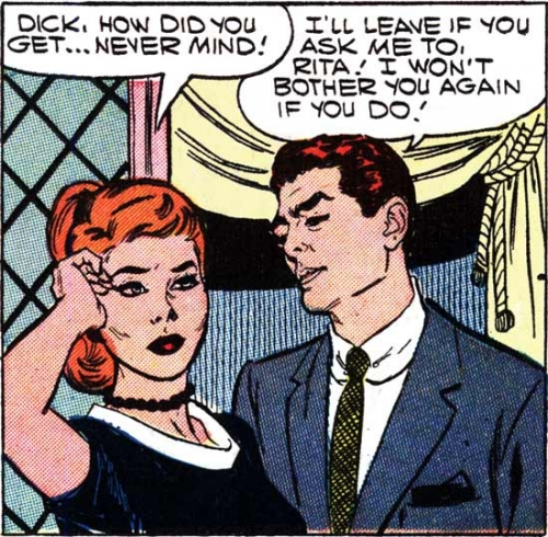 "Art by John Tartaglione from the story ""My Confidence Man"" in FIRST KISS #5, 1958."