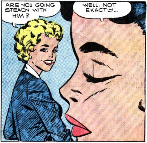"Art by Vince Colletta Studio from the story ""Make Believe"" in FIRST KISS #7, 1959."